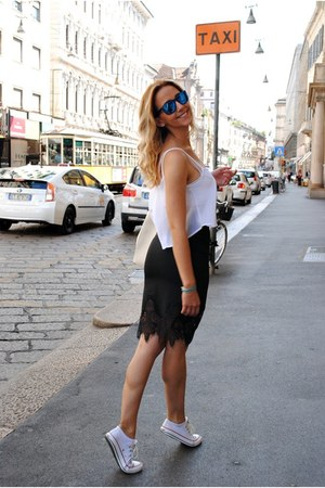 black Sheinside skirt - white Bershka top