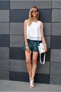 Teal-6ks-shorts-white-6ks-blouse