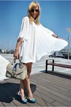 turquoise blue Zara heels - white OASAP dress - ivory LaPallete bag