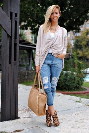 camel Manuella L cardigan - sky blue Front Row Shop jeans