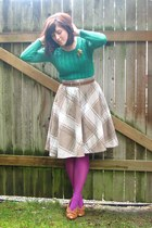 camel plaid thrifted skirt - green thrifted sweater - maroon Target tights