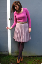 light purple thrifted skirt - hot pink Forever21 sweater