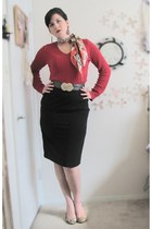 red Target sweater - charcoal gray Goodwill belt - black pencil Target skirt - b
