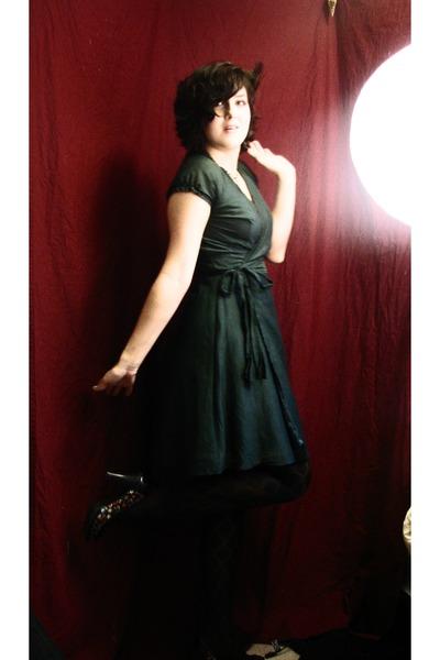 forest green Romy dress - black Target shoes - black Target tights