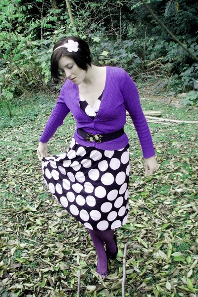 deep purple Target tights - black thrifted dress - purple Goodwill cardigan - bl