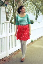 red bicycle print Target skirt - turquoise blue striped thrifted sweater