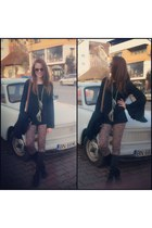 black Musette boots - brown leather Gucci bag - black denny rose blouse