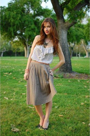 white polka dot Forever21 blouse - tan pleated Zara skirt - pink J Crew belt - b