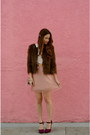 Light-pink-ruche-dress-light-brown-faux-fur-urban-outfitters-coat