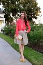 Coral-button-up-a-thread-shirt-beige-dot-detail-darling-skirt
