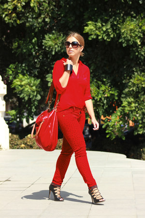 red Falabella jeans - red Martina K bag - black Zara heels - red vintage blouse
