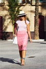 White-zara-bag-black-zara-heels-pink-diy-skirt