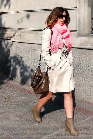 tan Zara coat - hot pink H&M scarf - brown Misako bag