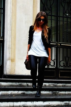 black Topshop leggings - black Only blazer - heather gray H&M t-shirt