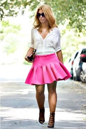 hot pink H&M skirt - white Mango shirt - black Zara heels