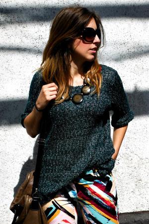 forest green Topshop sweater - dark brown Misako bag - ruby red H&M pants
