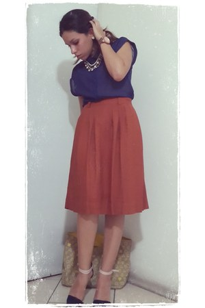 tawny Forever21 skirt - navy Stradivarius shoes - navy H&M shirt