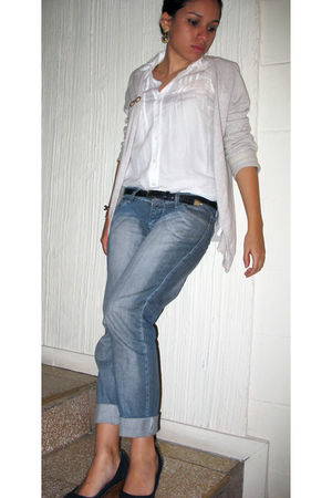 blue unknown jeans - white Zara blouse - beige Zara cardigan - black pull&bear s