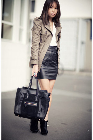 black asos boots - dark khaki BB Dakota jacket - black leather Topshop skirt