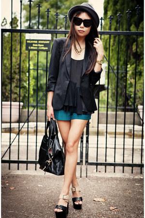 tan Report sandals - black Zara blazer - gold necklace
