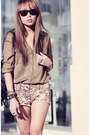 Olive-green-asos-shirt-camel-river-island-shorts
