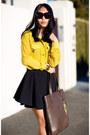 Yellow-asos-shirt-dark-brown-bag-black-skirt