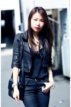 black cropped leather Kookai jacket
