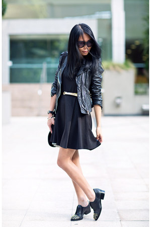 black Factorie dress - black leather Zara jacket - black asos loafers