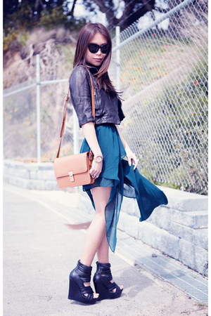 black wedges - teal skirt