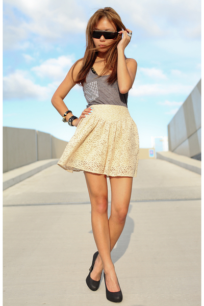 black shoes - beige skirt