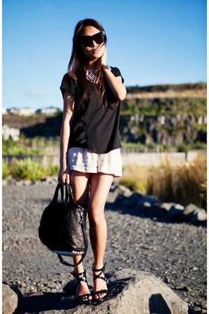 black stella Alexander Wang heels - off white Glassons shorts