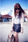 Black-factorie-shorts-dark-gray-topshop-boots-ivory-factorie-cardigan