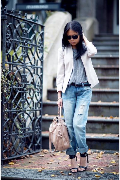 off white H&M blazer - blue jeans