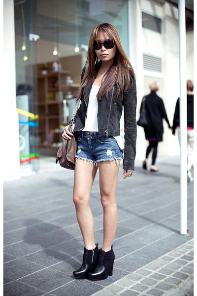 gray Topshop jacket - black sam edelman boots