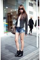 gray Topshop jacket - black sam edelman boots