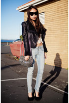black shearling jacket - charcoal gray Alexander Wang bag - black Topshop heels