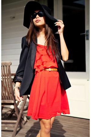 black Zara blazer - carrot orange TFNC dress - orange heels