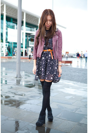 maroon Dotti jacket - navy asos dress