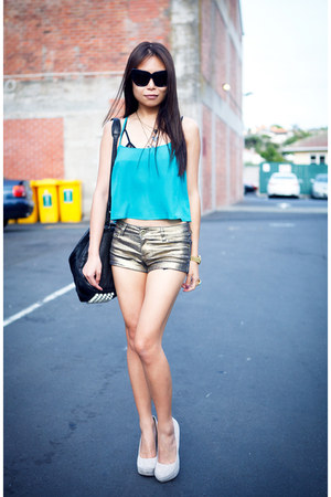 gold new look shorts - turquoise blue Topshop top