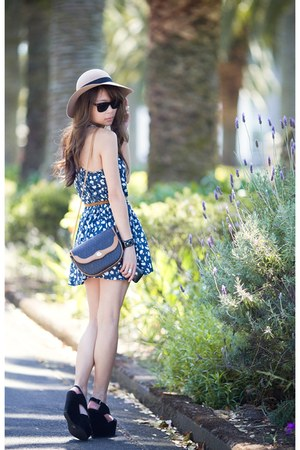 blue asos dress - black Jeffrey Campbell shoes - tan dior bag