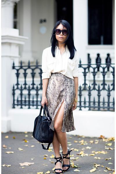 light brown skirt - ivory asos blouse