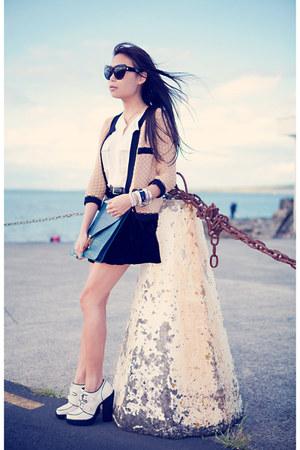tan Topshop cardigan - black velvet skirt