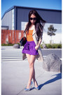 Beige-jacket-purple-asos-shorts-silver-topshop-heels