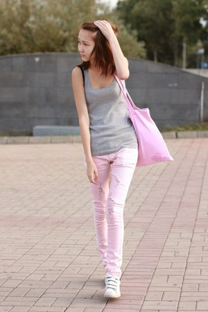 light pink kira plastinina jeans - bubble gum david&goliath bag
