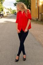 red trifted blouse - navy Zara jeans - black Mango heels