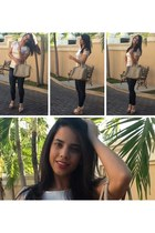 tan fitted Forever 21 top - navy distressed Zara jeans - beige Parfois bag