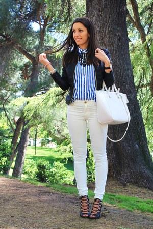 blue Stradivarius shirt - black Pimkie jacket - ivory H&M pants