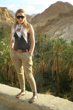 dark khaki pants - dark khaki scarf - dark brown Reserves top