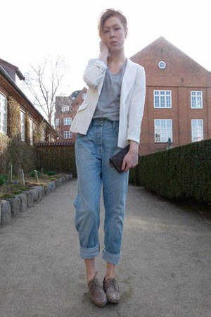 white Wetseal blazer - light blue boyfriend H&M jeans