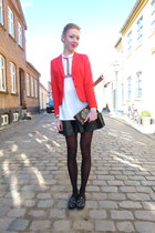 red H&M blazer - black vintage loafers
